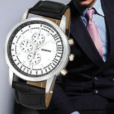 UK Geneva Men Business Watches Brand Dial Leather Band Analog Quartz Wrist Watch