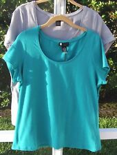 CAROLE LITTLE SOLID BLUE GRAY PLUS SHORT SLEEVE COTTON CASUAL SHIRT TOP 1X NEW