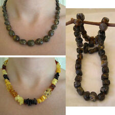 BALTIC MULTICOLOR or BLACK AMBER & SILVER HANDMADE BEAD NECKLACE CHOKER BEADED