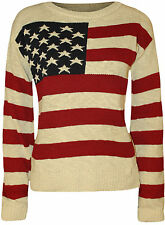 New Womens Stars Stripes USA American Flag Knitted Top Ladies Casual Jumper 8-14
