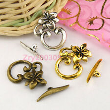 10Sets Tibetan Silver,Antiqued Gold,Bronze Flower Connector Toggle Clasps M1386