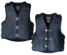 MENS MOTORCYCLE CLUB BUCKLE VEST 3MM THICK COWHIDE LEATHER