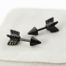 Fashion Punk Arrows Stainless Steel Studs Earrings Black Men Women Hot