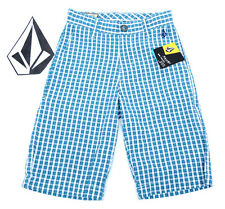 VOLCOM YOUTH KIDS BOYS FRUCKIN NUTS TOO SHORT Plaid Blue NWT/NEW $45