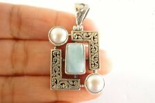 Blue Larimar White Mabe Pearl Balinese 925 Sterling Silver Pendant