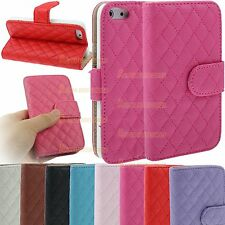 Leather Quilted Magnetic Wallet Flip Stand Case Cover Purse Apple iPhone 4S 4