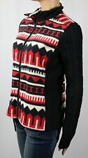 Ralph Lauren Active Black Red Cream Fleece Cableknit Jacket Full Zip NWT $120