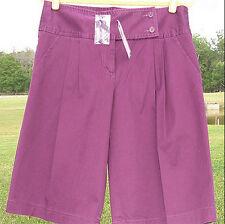 BCBG MAX AZRIA SOLID DARK PURPLE COTTON BERMUDA CLASSIC PLEATED SHORTS 10 NEW