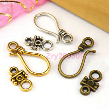 15Sets Tibetan Silver,Antiqued Gold,Bronze Hook Connector Toggle Clasps M1390