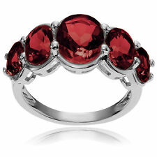 Journee Collection Sterling Silver Oval Garnet 5-stone Ring