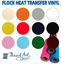 "FLOCK HEAT TRANSFER VINYL BY THE YARD 20"" WIDE EASY WEED 13 COLORS - THREADART"
