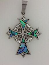 316L Stainless Steel Abalone Trinity High Cross with Stainless Steel Chain