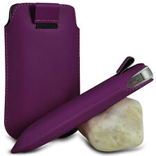 DARK PURPLE PULL TAB LEATHER POUCH SKIN COVER CASE PU HOLSTER FOR VARIOUS PHONE