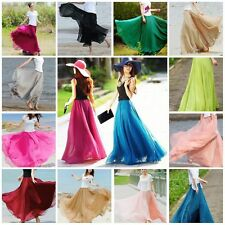 2017 NEW WOMEN ELASTIC WAISTBAND PLEATED CHIFFON BIG WAVE LONG MAXI SKIRT