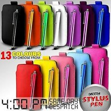LEATHER PULL TAB SKIN CASE COVER POUCH & STYLUS FITS VARIOUS T-MOBILE PHONES