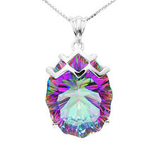 21ct Fire Blue Rainbow Topaz Pendent Necklace Chain Solid 925 Sterling Silver