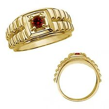 0.5 Carat Red Diamond Fancy Solitaire Nugget Mans Promise Ring 14K Yellow Gold