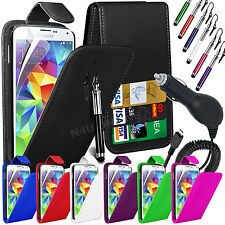 PU Leather Flip Case Cover, Film, Pen & Car Charger for Samsung Galaxy S5 i9600