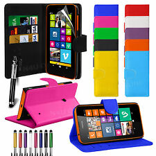 PU Leather Flip Wallet Book Case Cover For NOKIA Lumia 630 Free Screen Protector