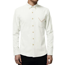 Men Long Sleeves Chest Pocket Slim Fit Button Down Shirt
