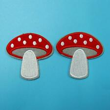 2 Polka Dot Mushroom Iron on Sew Patch Applique Badge Embroidered Biker Cute Lot