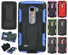 For LG Destiny L21G COMBO Belt Clip Holster Case Kick Stand Cover +Screen Guard
