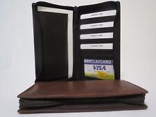 Long Genuine Leather Bifold Zipper Checkbook Wallet ID Credit Card Money Holder.