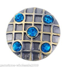 Wholesale Lots Snap Buttons Rhinestone Checkered Fit Snap Bracelets K01348