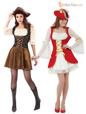 Caribbean Pirate Ladies Fancy Dress Captain Buccaneer Womens Costume Outfit