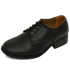 LADIES BLACK REAL LEATHER OXFORD BROGUE SMART WORK LACE-UP SHOES PUMPS UK 3-9