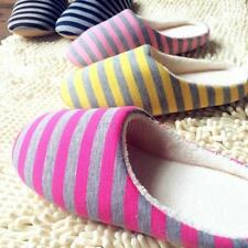 Women Men Cute Winter Warm Soft Antiskid Indoor Home Slippers Striped Shoes A63