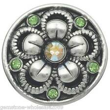 Wholesale Lots Snap Buttons Charms Rhinestone Flower Fit Snap Bracelets K01095
