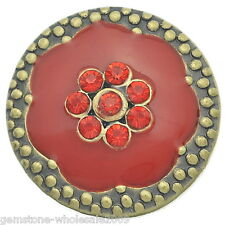 Wholesale Lots Snap Buttons Rhinestone Red Fit Snap Bracelets Bronze Tone