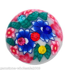 Wholesale Lot Snap Button Fit Bracelet Rhinestone Polymer Clay Flower 18mm #18