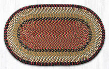Oval Burgundy/Mustard Braided Jute Rug by Earth Rugs - Throw, Area or Runner