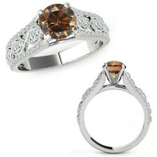 1 Carat Champagne Color Diamond Lovely Solitaire Halo Ring Band 14K White Gold