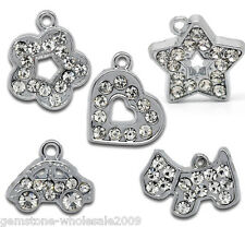 Wholesale Lots Mixed Silver Tone Rhinestone Charm Pendants 16x13mm-19x17mm