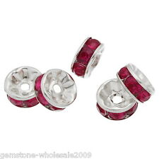 Wholesalelots Silver Plated Fuschia Rhinestone Rondelle Spacers Beads 8x4mm