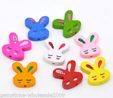 Wholesale Lots Mixed Multicolor Cute Rabbit Wood Beads 20x20mm