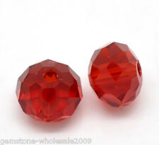 Wholesale Lots Red Crystal Glass Faceted Rondelle Beads 8x6mm