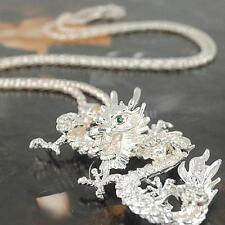 Retro Vintage Dragon Rhinestone Pendant Necklace Sweater Chain Jewelry Gift X7Y6