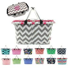 Personalized Picnic Basket Collapsible Insulated Cooler Market Tote Bag Monogram
