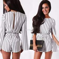 Fashion Women Chiffon Split Long Sleeve Jumpsuit Striped Romper Shorts Playsuits