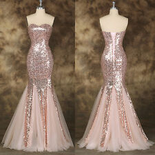 Mermaid Sexy Long Sequined Evening Pageant Prom Formal Wedding Ball Gown Dresses