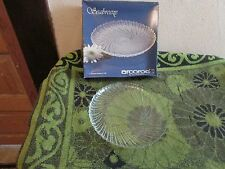 YOUR CHOICE: SET OF 4 DESSERT or DINNER CRYSTAL GLASS PLATES BY ACROROC/ DURAND