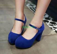 Womens Faux Suede Wedge Heel platform  Round Toe Pumps Ankle Strap Party Shoes #