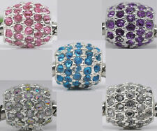 10 Dense Rhinestone Spacer Beads Fit Charm Bracelet 10x10mm M0178