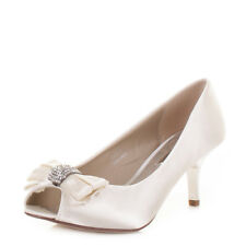 Womens Mid Heel Diamante Peep Toe Ivory Satin Wedding Prom Bride Shoes Size 3-8
