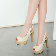 Vintage Womens Shinny Slingbacks Platform Block High Heels Sandals Pumps Shoes