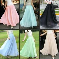 Fashion Women's Layer Chiffon Pleated Retro Long Maxi Dress Elastic Waist Skirt